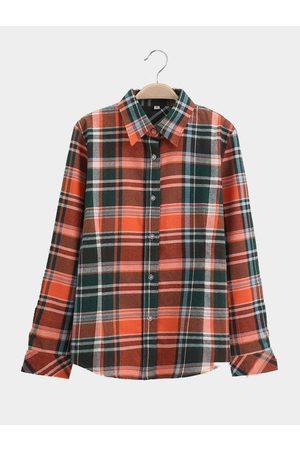 YOINS Women Blouses - Fashion Checked Pattern Shirt