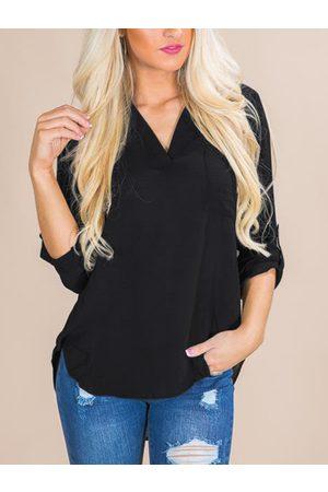 YOINS Women Blouses - Single Pocket Detail V-neck Curved Hem Chiffon Blouse
