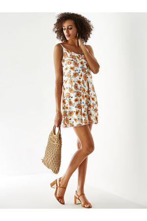 YOINS Women Printed Dresses - Floral Print Criss-cross V-neck Sleeveless Dress