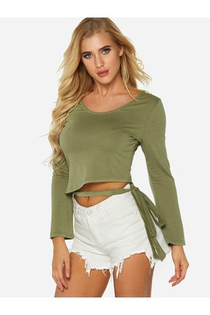 YOINS Women Long Sleeve - Army Self Tie Design Plain Round Neck Long Sleeves T-shirts