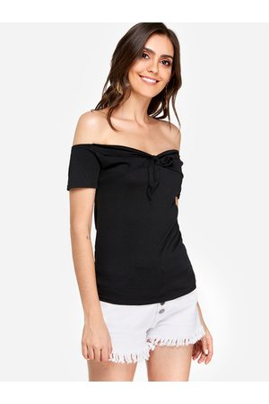 YOINS Self-tie Front Details Off Shoulder Short Sleeves Sexy Bodycon Blouse