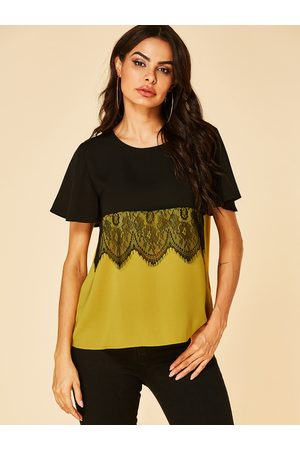 YOINS Lace Details Round Neck Short Sleeves Tee