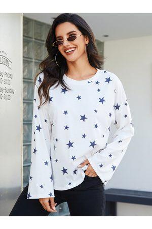 YOINS Women Long Sleeve - White Graphic Round Neck Design Long Sleeves Tee