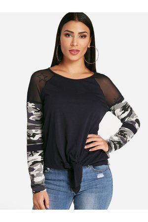 YOINS Women Long Sleeve - Camouflage Patchwork Crew Neck Self Tie Design Long Sleeves T-shirts