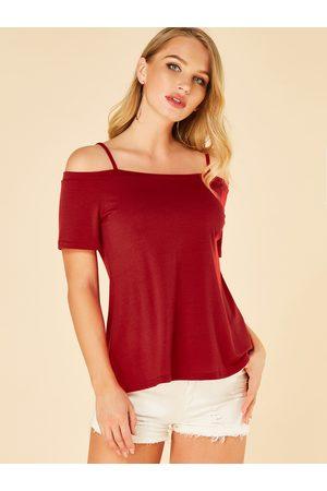 YOINS Women Short Sleeve - Spaghetti Strap Cold Shoulder Short Sleeves Tee
