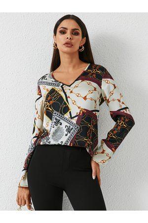 YOINS Women Blouses - Scarf Print V-neck Blouse