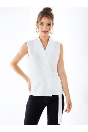 YOINS Women Waistcoats - V-neck Belt Design Wrap Waistcoat