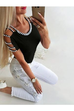 YOINS Black Cut Out Round Neck Short Sleeves Sweater