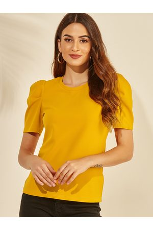 YOINS Women T-shirts - Round Neck Puff Sleeves Tee