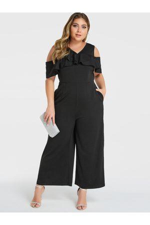 YOINS Women Short Sleeve - Plus Szie Cold Shoulder Short Sleeves Jumpsuit