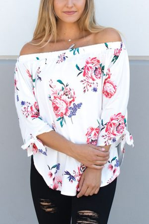 YOINS Women Tops - Off-The-Shoulder Random Floral Print Top