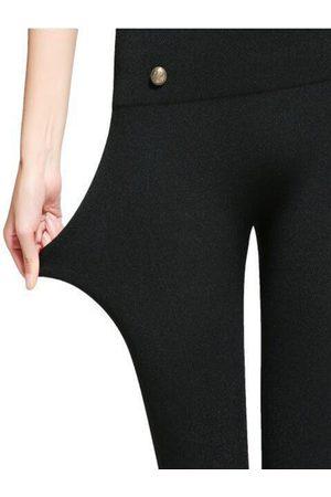 YOINS Black High Elasticity Button Front High-Waisted Leggings