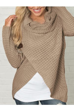 YOINS Crossed Front Design Roll Neck Knitted Jumper