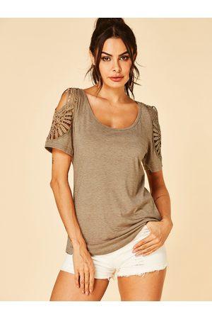 YOINS Women Short Sleeve - Khaki Hollow Design Round Neck Short Sleeves Tee
