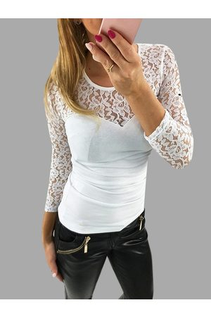 YOINS Sexy Lace Insert Long Sleeves Patchwork Design T-shirt