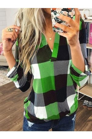 YOINS Green Color Block Check V-neck Curved Hem Blouse