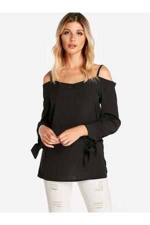 YOINS Self-tie Design Cold Shoulder Long Sleeves Blouse