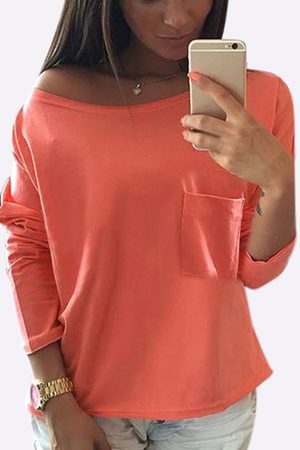 YOINS One Shoulder Chest Pockets T-shirt