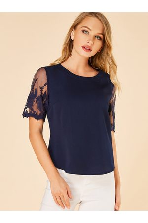 YOINS Mesh Embroidered Round Neck Short Sleeves Blouse