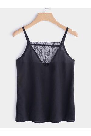 YOINS Backless Design V-neck Lace Insert Camis