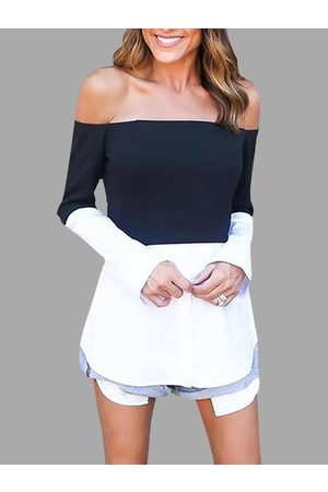 YOINS Black & White Off Shoulder Long Sleeves T-shirt