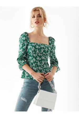 YOINS Women Tank Tops - Random Calico Shirring Square Neck Blouse