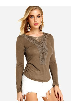 YOINS Women Long Sleeve - Coffee Lace Details Plain Round Neck Long Sleeves T-shirts