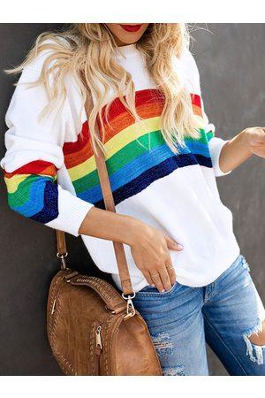 YOINS Women Sweatshirts - Stripe Round Neck Sweatshirt