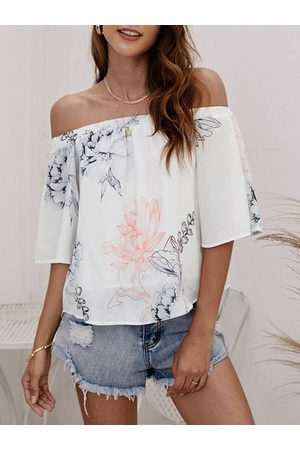 YOINS Women Tops - Random Floral Print Elastic Off Shoulder Chiffon Blouse in