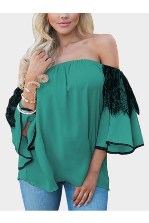 YOINS Women Tops - Lace Insert Off Shoulder Lantern Sleeves Blouse