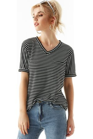 YOINS Stripe Pocket V-neck Short Sleeves Tee