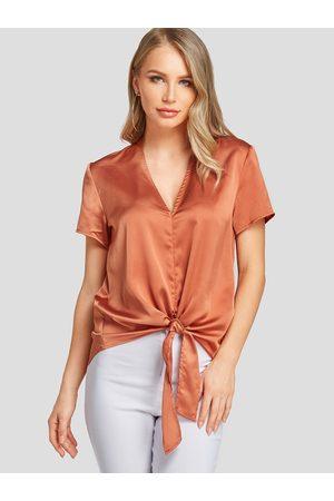 YOINS Women Short Sleeve - Satin V-neck Knotted Design Short Sleeves Blouse