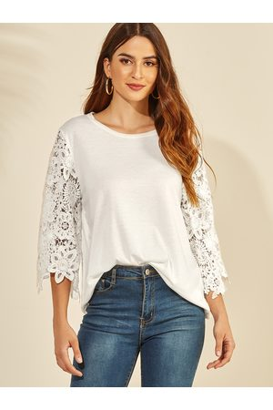 YOINS Lace Insert Round Neck 3/4 Length Sleeves Blouse