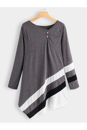 YOINS Women Casual Dresses - Dark Button Design V-neck Long Sleeves Dress With Stripe Irregular Hem