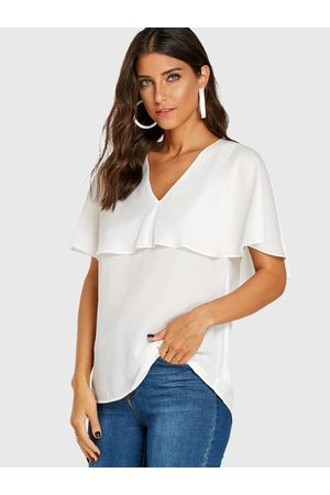 YOINS Women Blouses - V-neck Cap Sleeves Blouse