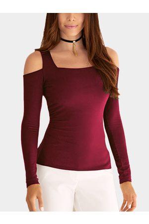 YOINS Women Long Sleeve - Cold Shoulder Long Sleeves Basic Top