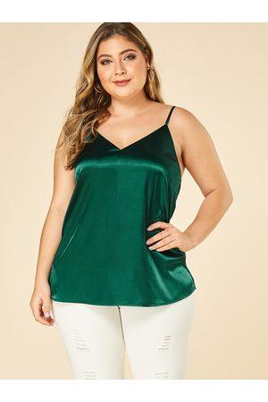 YOINS Women Camisoles - Plus Size Satin Spaghetti Strap V-neck Camis
