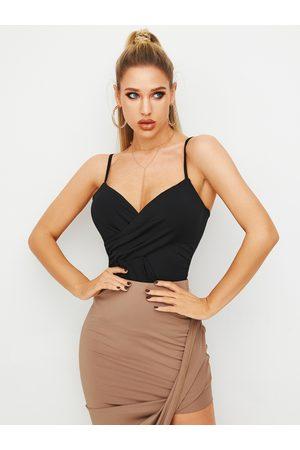 YOINS Women Camisoles - Black Wrap Design Deep V-neck Cami