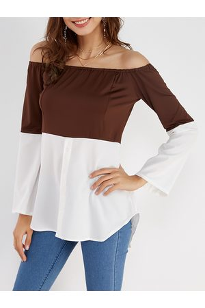 YOINS Coffee & White Off Shoulder Long Sleeves T-shirt