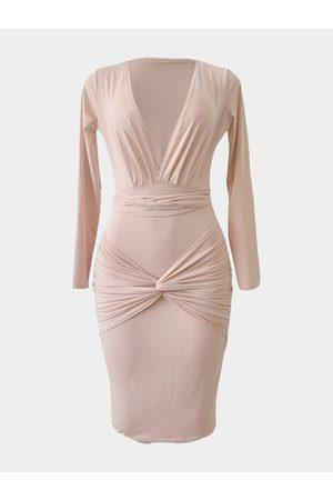 YOINS Long Sleeves V-neck Bodycon Midi Dress