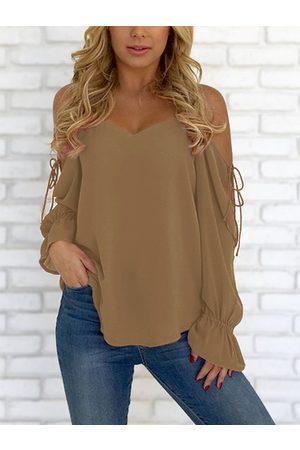 YOINS Women Blouses - V-neck Cold Shoulder Lace-up Chiffon Blouse