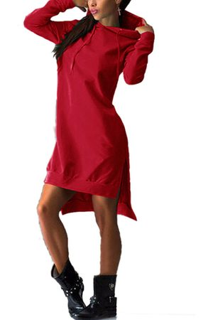 YOINS Women Casual Dresses - Hooded Design Pullover Long Sleeves Dress
