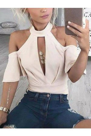 YOINS Women Short Sleeve - Beige Cut Out Halter Short Sleeves Tee