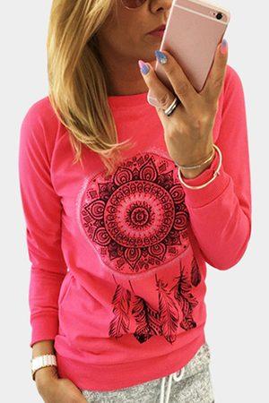 YOINS Women Long Sleeve - Rose Printed Pattern Crew Neck Long Sleeves T-shirt
