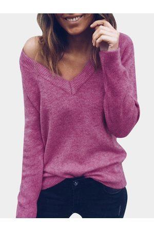 YOINS Women Long Sleeve - V-neck Long Sleeves Bodycon Hem Casual Sweater