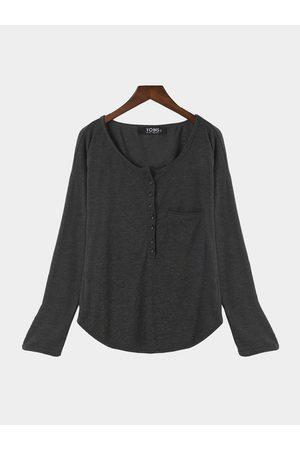 YOINS Women Blouses - Casual Button Pocket Front Plunge Blouse