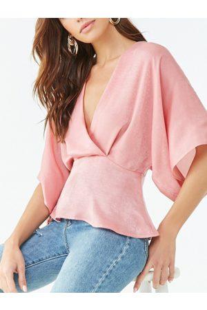 YOINS Women Short Sleeve - Backless Design Plain Deep V Neck Short Sleeves Blouse