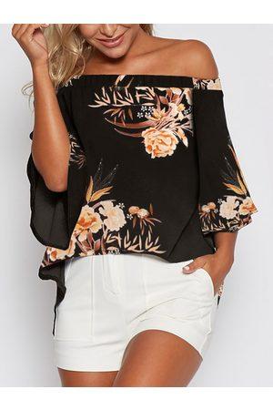 YOINS Women Tops - Random Floral Print Off Shoulder Blouse