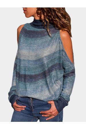 YOINS Women Long Sleeve - Blue Random Stripe Cold Shoulder Long Sleeves Turtleneck Tee