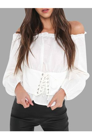 YOINS Women Tops - Lace-up Off The Shoulder Lantern Sleeves Blouses